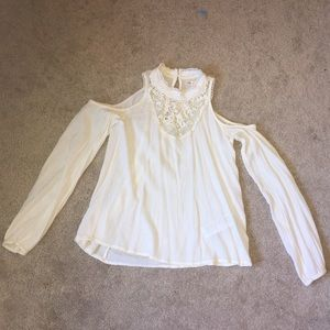 Hollister White Long Sleeve Tee with Lace